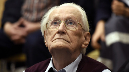 "Oskar Groening, defendant and former Nazi SS officer dubbed the ""bookkeeper of Auschwitz"", listens to the verdict during his trial in Lueneburg, Germany, July 15, 2015. (Reuters/Axel Heimken)"