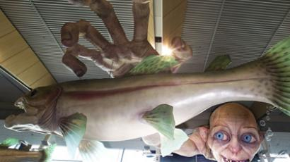 "A giant Gollum creature from the ""Hobbit"" movie catches a fish on the ceiling of Wellington AIrport on October 31, 2012. (AFP Photo/Marty Melville)"