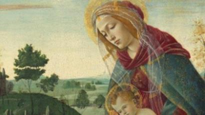 A fragment of the Rockefeller Madonna: Madonna and Child with Young Saint John the Baptist, by Sandro Botticelli (Image from christies.com)