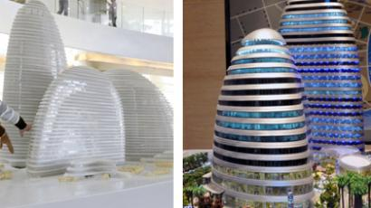 This combo shows pictures a model of the Wangjing SOHO (left) building in Beijing, designed by architect Zaha Hadid, and a model of the Meiquan 22nd Century building (right) in China's southwest Chongqing on January 3, 2012. (AFP Photo)