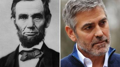 US President Abraham Lincoln, Actor and activist George Clooney.(AFP Photo / HO / Mandel Ngan)