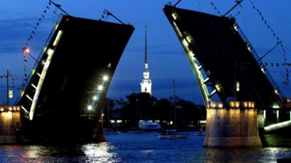 A view of the Birzhevoi flap bridge and Peter and Paul fortress  in Saint Petersburg (AFP Photo / Mladen Antobov)