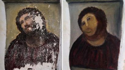 A combination of two documents provided by the Centre de Estudios Borjanos on August 22, 2012 shows the original version of the painting Ecce Homo (L) by 19th-century painter Elias Garcia Martinez, the deteriorated version and the restored version by an elderly woman in Spain. (AFP Photo/Centro De Estudios Borjanos)