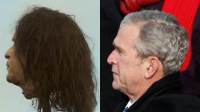 Left (Photo from youtube), Right - George W. Bush (Reuters/Jim Young)