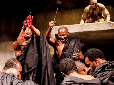 Paterson Joseph, Cyril Nri and Theo Ogundipe in Julius Caesar. (Photo by Kwame Lestrade / rsc.org.uk)