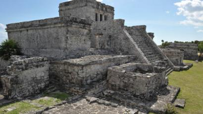 The main temple at the Pre-Columbian Mayan site of Tulum, built on the eastern coast of the Yucatan Peninsula on the Caribbean Sea, in the Mexican state of  the main temple at the Pre-Columbian Mayan site of Tulum, built on the eastern coast of the Yucatan Peninsula on the Caribbean Sea, in the Mexican state of Quintana Roo (AFP Photo / Cris Bouroncle)