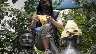 "Monuments across Moscow have been ""masked"" in support of the Pussy Riot members (Image from Lenta.ru)"
