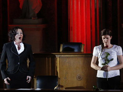 """Katerina Beranova (L) and Alexandra Diesterhoeft (R) perform during the premiere of the opera """"Spiegelgrund"""" , depicting atrocities perpetrated by Nazis to children during the Holocaust in a Vienna hospital, and staged at the Austrian Parliament in Vienna, Austria on January 25, 2013.  (AFP Photo/Dieter Nagl)"""