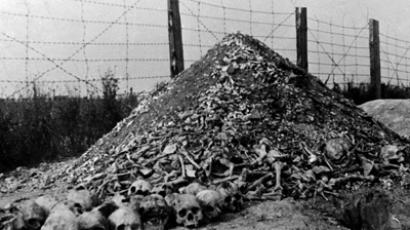A pile of human bones and skulls is seen in 1944 at the Nazi concentration camp of Majdanek in the outskirts of Lublin, the second largest death camp in Poland after Auschwitz. (AFP Photo)
