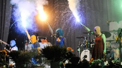 Pussy Riot band members perform during Faith No More Moscow gig (Video published on YouTube on 2 Jul 2012 by lualexe; Photo RIA Novosti/Vladimir Astapkovich)