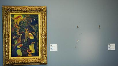 A empty space is seen on October 16, 2012 where a painting by French artist Henri Matisse was stolen at the Kunsthal museum in Rotterdam. (AFP Photo / AFP Photo / Robin Utrecht)