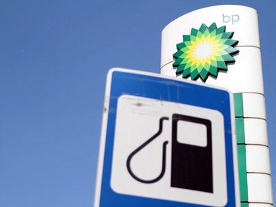 A TNK-BP logo at a gasoline station in Moscow. (RIA Novosti/Konstantin Rodikov)