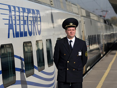 "Presentation of the high-speed St.Petersburg-Helsinki ""Allegro"" train at the Finlyandsky Rail Terminal. (RIA Novosti / Igor Samoilov)"