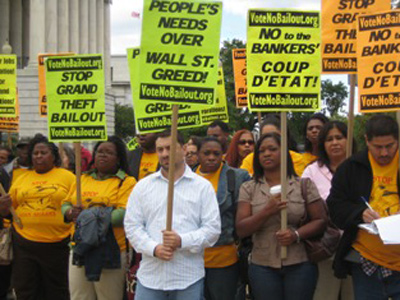 Workers protest against bail out of U.S. banks