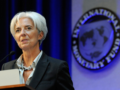 IMF Managing Director Christine Lagarde delivers remarks at a Banque de France panel on financial stability review during the semi-annual meetings of the IMF and the World Bank in Washington, April 21, 2012 (Reuters/Jonathan Ernst)