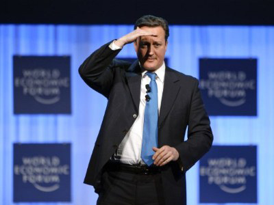 Davos: British Prime Minister David Cameron speaks on January 26, 2012 at the World Economic Forum (WEF) in the Swiss resort of Davos. (AFP Photo / Fabrice Coffrini)