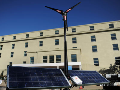 A hybrid solar-wind generator by Solar Stik.(AFP Photo / Tim Sloan)
