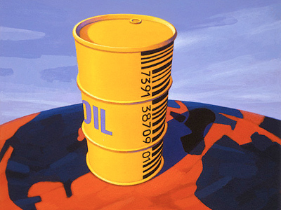 Barrel of Oil with Barcode on Globe