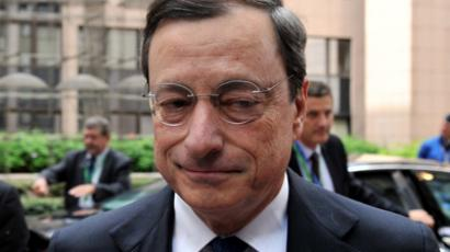 European Central Bank President Mario Draghi arrives for a second day of the European Union leaders summit in Brussels on June 29, 2012. (AFP Photo / Georges Gobet)
