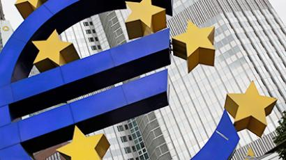 A structure showing the Euro currency sign is seen in front of the European Central Bank (ECB) headquarters in Frankfurt July 11, 2012 (Reuters/Alex Domanski)