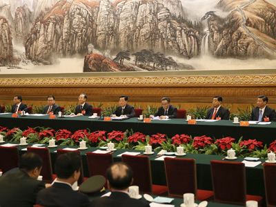 Chinese president Hu Jintao and other leaders present at the first presidential conference of the 18th Communist Party Congress at the Great Hall of the People in Beijing (AFP Photo / Lan Hongguang)