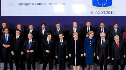 EU heads of states and governments pose for a family photo during an European Union summit in Brussels (Reuters / Yves Herman)