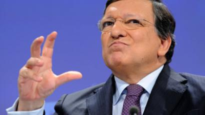 European Commission President Jose Manuel Barroso gestures during a press conference with EU Trade commissioner on a major transatlantic trade initiative on February 13, 2013 at EU Headquarters in Brussels.(AFP Photo / John Thys)