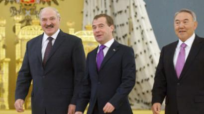 Dmitry Medvedev, Alexander Lukashenko and Nursultan Nazarbayev meet in Kremlin (RIA Novosti / Dmitry Astakhov)