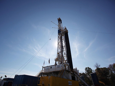 A Chesapeake Energy drilling rig in Carroll County, Ohio