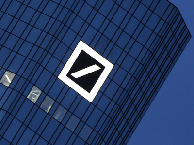 The logo of the Deutsche Bank is seen at the company's headquarters towers in Frankfurt/Main (AFP Photo/Daniel Roland)