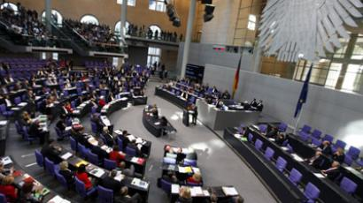 General view of the Bundestag lower house of parliament during its session on euro-zone rescue in Berlin (Reuters/Thomas Peter)