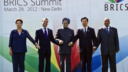 : Heads of the BRICS countries (L to R) President Dilma Rousseff of Brazil, Russian President Dimitry Medvedev, Indian Prime Minister Manmohan Singh, Chinese President Hu Jintao and President Jacob Zuma of South Africa pose prior to the BRICS summit in New Delhi (AFP Photo / Prakash Singh)
