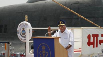Indian Defence Minister A.K. Antony speaking at the induction ceremony of the INS Chakra II nuclear-powered submarine at the naval shipyard in Visakhapatnam, Andhra Pradesh on April 4, 2012 (AFP Photo)