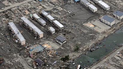 This aerial view taken on March 14, 2011 during an AFP-chartered flight shows an area destroyed by the tsunami in Sendai in Miyagi (AFP Photo / Noboru Hashimoto)