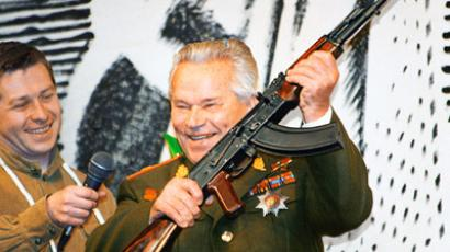 Renowned Russian arms designer Mikhail Kalashnikov at the Izhevsk Machine Building Plant (Izhmash) during celebrations of its 190th anniversary and the 50th commissioning anniversary of his AK-47 assault rifle, his best-known invention (RIA Novosti / Alexander Makarov)