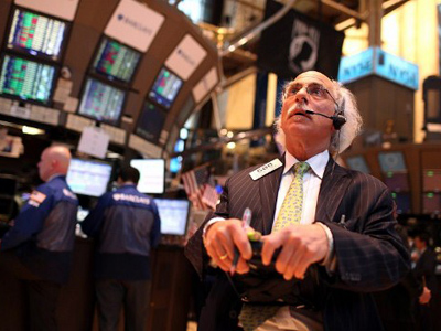 A trader works on the trading floor at the New York Stock Exchange on April 20, 2012 in New York City (Justin Sullivan/Getty Images/AFP)