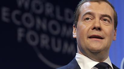 Russia's Prime Minister Dmitry Medvedev addresses the annual meeting of the World Economic Forum (WEF) in Davos January 23, 2013. (Reuters / Denis Balibouse)