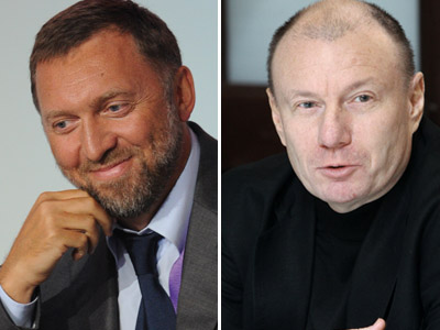President of En+ Group and CEO of RUSAL Oleg Deripaska (L) and Interros Company President Vladimir Potanin (RIA Novosti/Alexey Filippov/Vladimir Fedorenko)