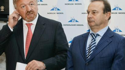 Head of board at Norilsk Nickel, Head of Management Board at VTB Vasily Titov and CEO at Norilsk Nickel Vladimir Strzhalkovsky (from left to right) during the EGM of Norilsk Nickel (RIA Novosti / Vitaliy Belousov)