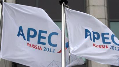 Asia-Pacific Economic Cooperation Forum under the chairmanship of the Russian Federation. Flags featuring the logo of the Forum (RIA Novosti/Alexey Malgavko)