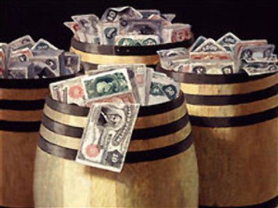 "Victor Dubreuil, ""Barrels of Money,"" c. 1890s, oil on canvas"