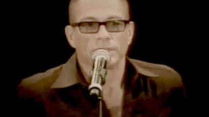 Actor Jean-Claude Van Damme speaking at a party thrown by the Chechen leader, Ramzan Kadyrov, in Grozny, the capital of southern Russia's Chechen Republic