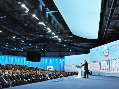 Russian President Putin speaks during his address at the opening of the St.Petersburg International Economic Forum in St.Petersburg (RIA Novosti)