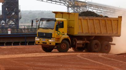 A tipper truck carrying minerals travels through the Tongon Gold Mine in the Korhogo region October 23, 2011. REUTERS/Thierry Gouegnon