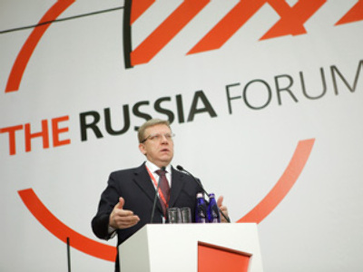 Russian Deputy Prime Minister and Minister of Finance Alexei Kudrin speaking at the Russia Forum 2010 at the World Trade Center in Moscow (RIA Novosti / Ruslan Krivobok)