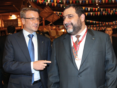 Sberbank Chief German Greff and the head of Troika Dialog Ruben Vardanyan