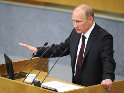 April 11, 2012. Russian Prime Minister Vladimir Putin addresses the Russian State Duma with the final report on the work of the current government. (RIA Novosti/Grigory Sysoev)
