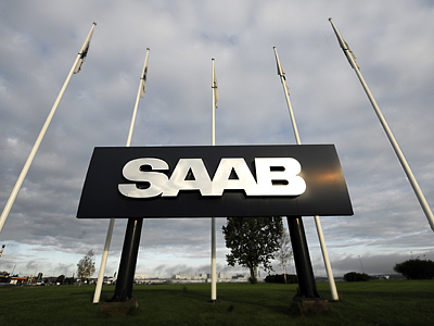 The sign of Swedish automobile company Saab is pictured at its headquarters in Trollhattan, south-west Sweden (AFP Photo / Olivier Morin)