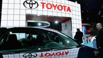 A Toyota Camery is displayed during the Los Angeles Auto.(AFP Photo / Kevork Djansezian)