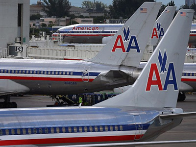 American Airline planes are seen on the tarmac at the Miami International Airport. (AFP Photo/Getty/Joe Raedle)